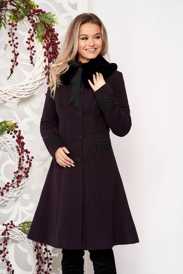 Palton StarShinerS mov best impulse elegant din lana cu insertii de broderie captusit pe interior