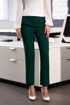 Pantaloni StarShinerS verzi office cu un croi drept cu talie medie cu buzunare din stofa usor elastica