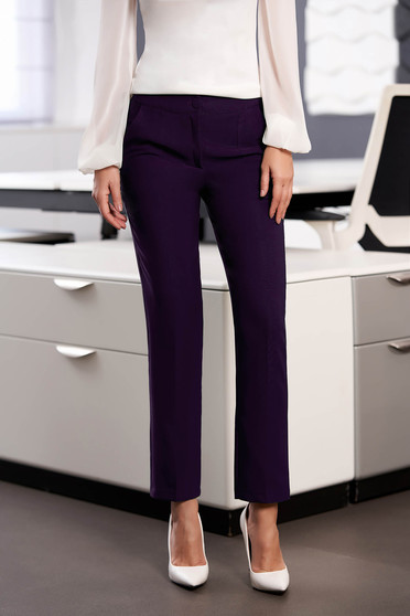 Pantaloni StarShinerS mov office cu un croi drept din stofa usor elastica cu talie medie si buzunare