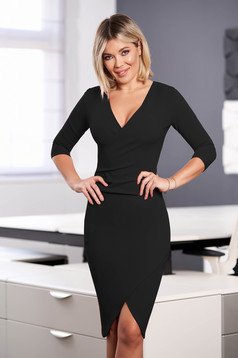 StarShinerS black dress elegant midi pencil with v-neckline wrap over front with 3/4 sleeves from elastic fabric
