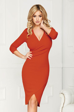 StarShinerS bricky dress elegant midi pencil with v-neckline wrap over front with 3/4 sleeves from elastic fabric