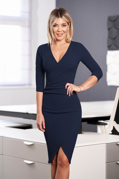 StarShinerS darkblue dress elegant midi pencil with v-neckline wrap over front with 3/4 sleeves from elastic fabric