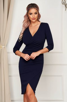 StarShinerS dress darkblue midi pencil with v-neckline wrap over front with 3/4 sleeves from elastic fabric