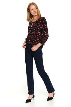 Bluza dama Top Secret neagra scurta casual cu croi larg cu maneci trei-sferturi si imprimeu floral