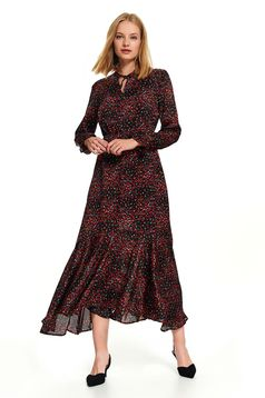 Black dress midi daily cloche long sleeved airy fabric with floral print
