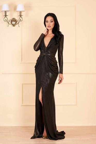 Rochie Ana Radu neagra de lux lunga cu decolteu adanc in v cu maneci lungi si captusita pe interior