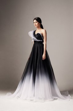 Ana Radu black dress luxurious long a-line from tulle degrade with inside lining one shoulder with ruffles on the chest