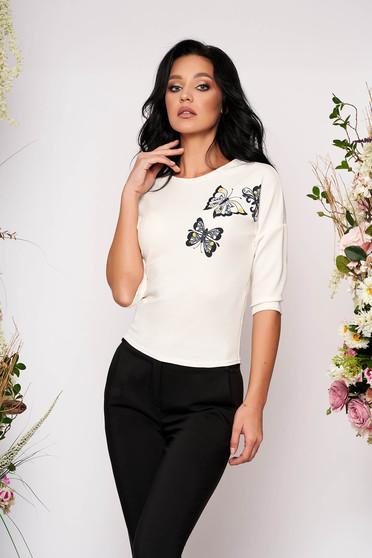 Bluza dama StarShinerS ivoire scurta eleganta mulata cu maneci trei-sferturi decolteu la baza gatului si imprimeuri grafice