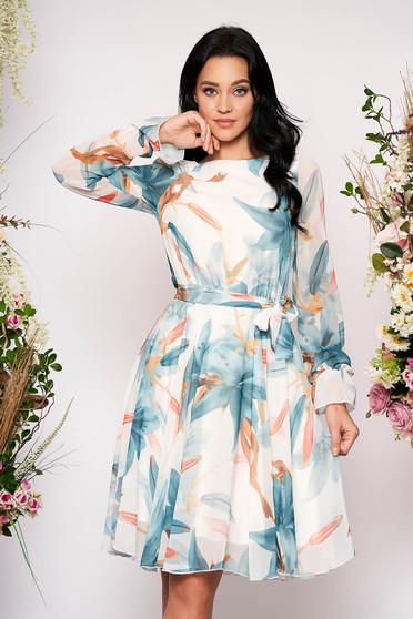 Rochie Fofy alba eleganta midi in clos din voal cu elastic in talie cu maneci lungi si imprimeu floral