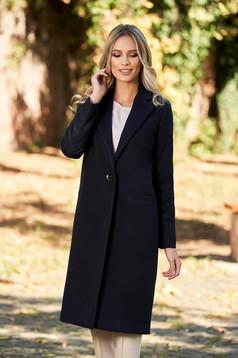 Palton LaDonna albastru-inchis basic cu un croi drept din lana captusit pe interior cu buzunare