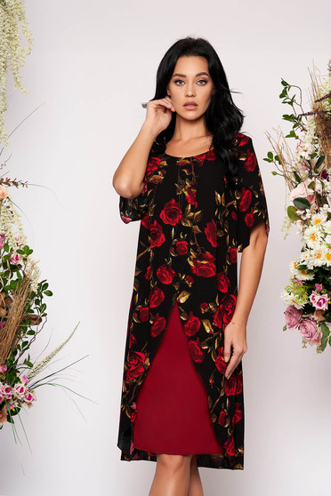 Rochie neagra de ocazie cu un croi drept cu suprapunere de material cu imprimeu floral cu maneci scurte si decupate