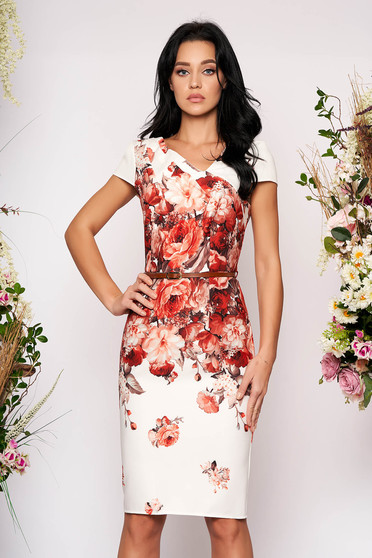 Rochie ivoire eleganta midi cu un croi drept cu maneci scurte si imprimeu floral fara captuseala