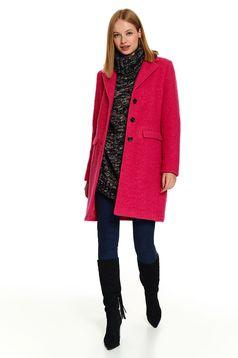 Palton Top Secret roz elegant cu un croi drept cu buzunare si inchidere cu nasturi