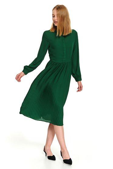 Rochie Top Secret verde midi de zi in clos cu guler cu maneci lungi si fusta plisata