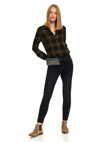 Pantaloni Top Secret negri conici casual din denim cu mici rupturi de material si buzunare
