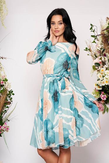 Rochie Fofy turcoaz eleganta midi in clos asimetrica din voal cu elastic in talie cu maneci lungi si imprimeu floral