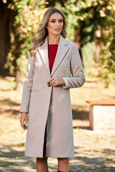 Palton LaDonna cappuccino basic cu un croi drept din lana captusit pe interior cu buzunare