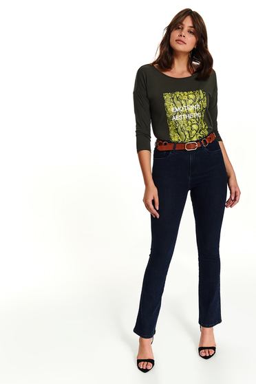 Bluza dama Top Secret verde scurta casual din bumbac cu decolteu rotunjit cu maneci trei-sferturi si mesaje