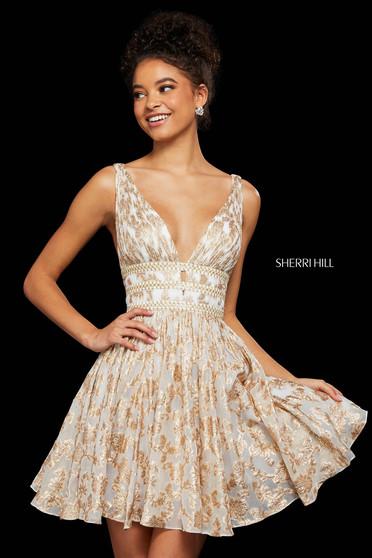 Rochie Sherri Hill 52965 ivory/gold