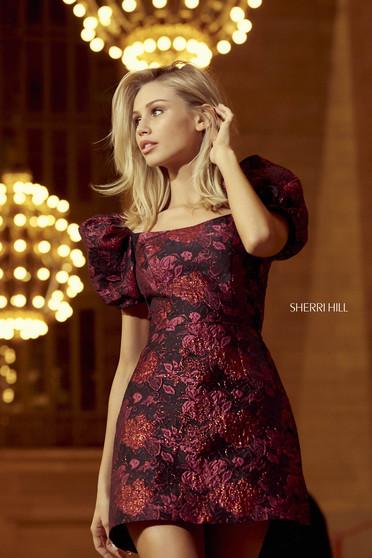 Rochie Sherri Hill 52974 black/fuchsia print