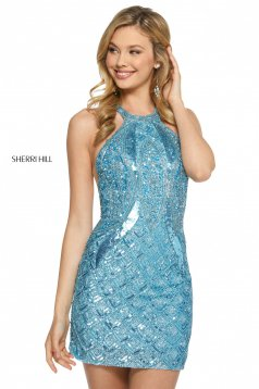 Rochie Sherri Hill 52993 light blue