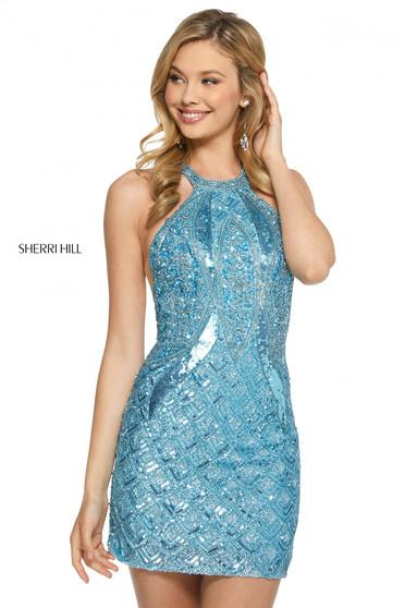 Rochie Sherri Hill 52993 light blue