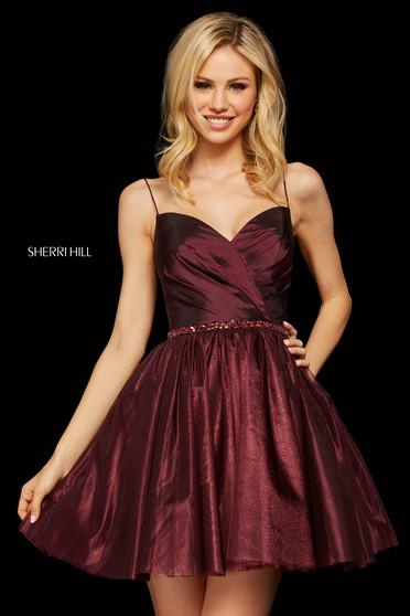 Rochie Sherri Hill 53003 dark wine