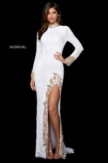Rochie Sherri Hill 53007 white/gold