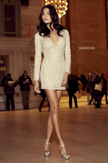 Rochie Sherri Hill 53010 nude/silver