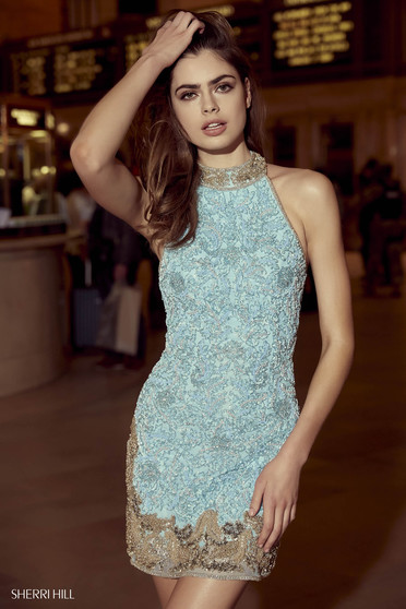 Rochie Sherri Hill 53011 light blue/gold
