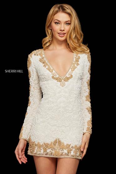 Rochie Sherri Hill 53013 white/gold