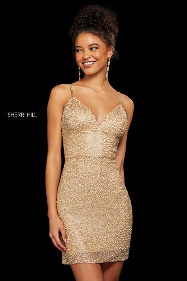 Rochie Sherri Hill 53014 light gold