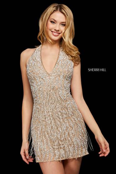 Rochie Sherri Hill 53018 nude/silver