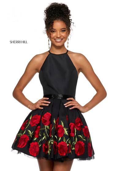 Rochie Sherri Hill 53023 black/red