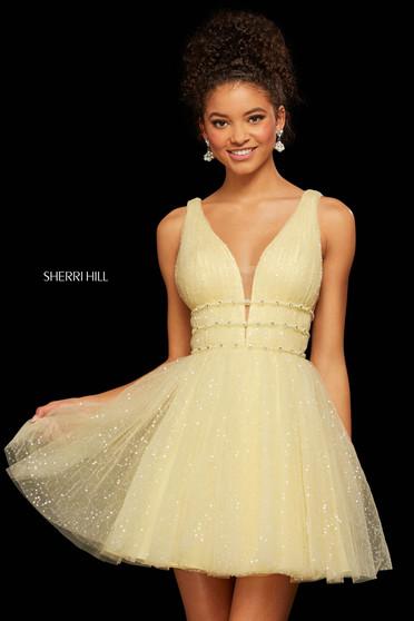 Rochie Sherri Hill 53026 yellow