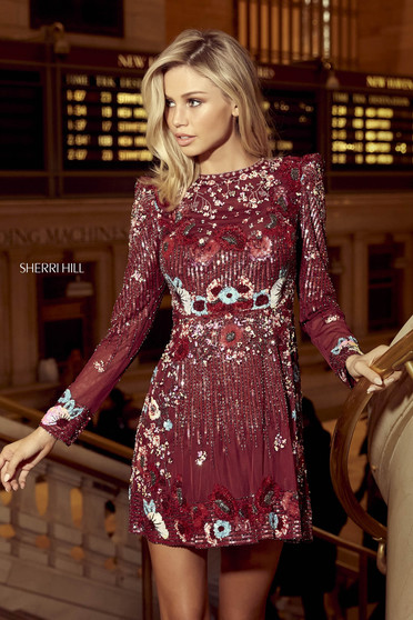 Rochie Sherri Hill 53029 burgundy