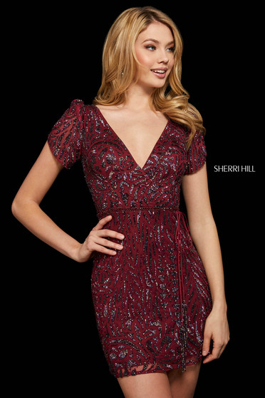 Rochie Sherri Hill 53035 burgundy