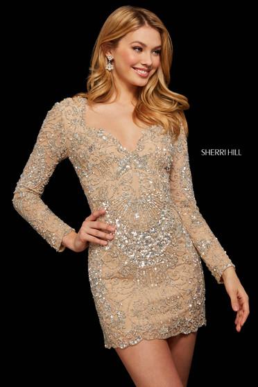 Rochie Sherri Hill 53056 nude/silver