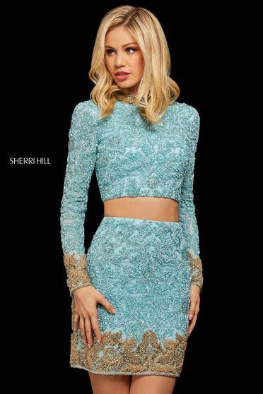 Rochie Sherri Hill 53059 light blue/gold