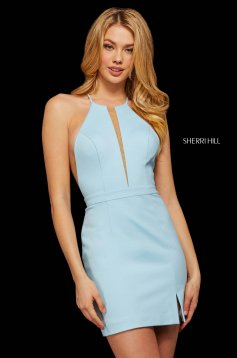Rochie Sherri Hill 53069 light blue