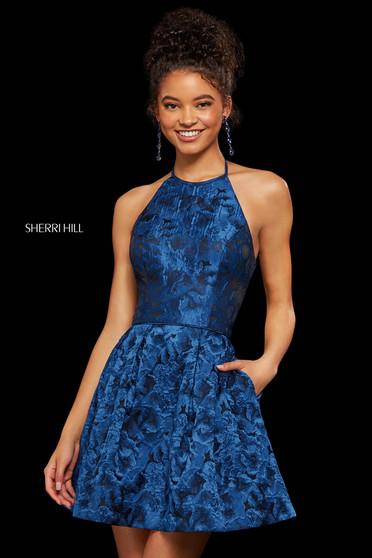 Rochie Sherri Hill 53070 navy print