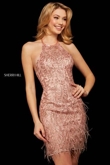 Rochie Sherri Hill 53096 rose gold
