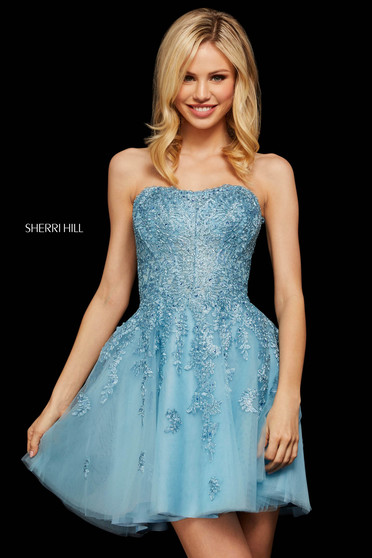 Rochie Sherri Hill 53099 light blue