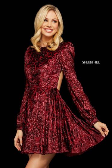 Rochie Sherri Hill 53115 burgundy