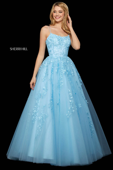Rochie Sherri Hill 53116 light blue