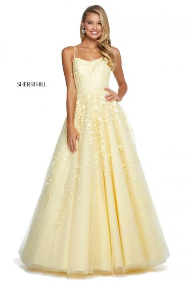 Rochie Sherri Hill 53116 yellow
