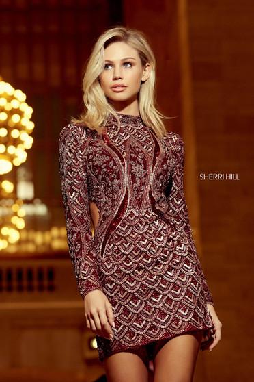 Rochie Sherri Hill 53120 burgundy/blush