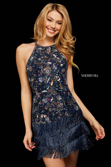 Rochie Sherri Hill 53124 navy/multi