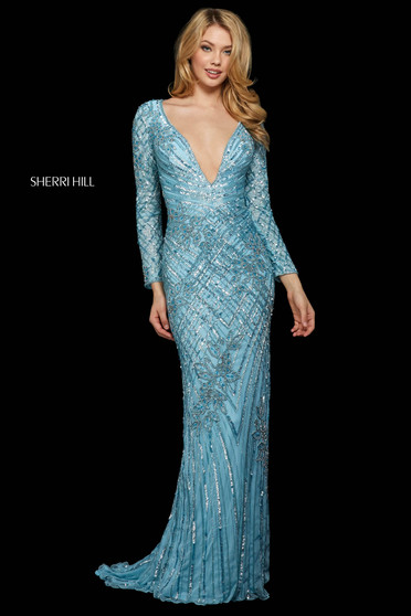 Rochie Sherri Hill 53130 light blue