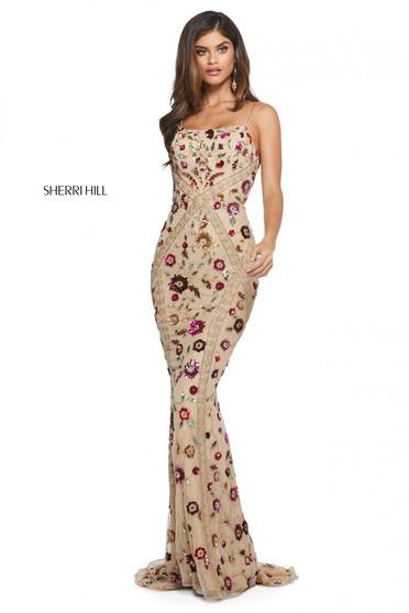 Rochie Sherri Hill 53134 nude/multi